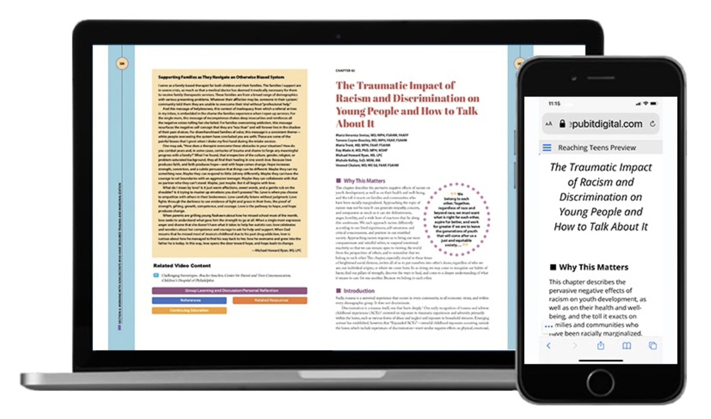 Image shows a highly stylized replica view of a textbook page with tinted text boxes, outlines, and fancy borders. The Responsive version of this same content does not need all of the visual appealing graphical treatments. It contains images, text, titles and headers with proper formatting.